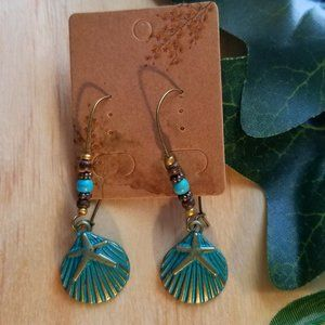 Boho Turquoise Seashell Pendant Dangle Earrings